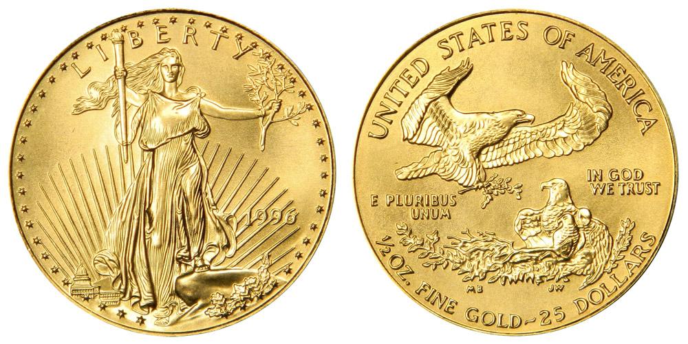 1996 American Gold Eagle Bullion Coin 25 Half Ounce Gold