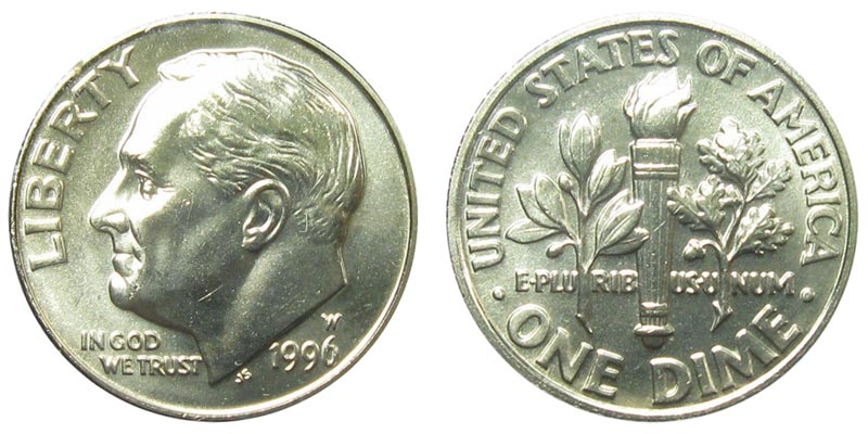 1997 D Roosevelt Dime ~ Uncirculated Coin in Mint Cello