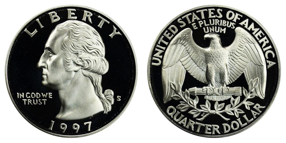 1997 S Silver Washington Quarter~PRDCAM~From US Mint Premier Silver Proof Set