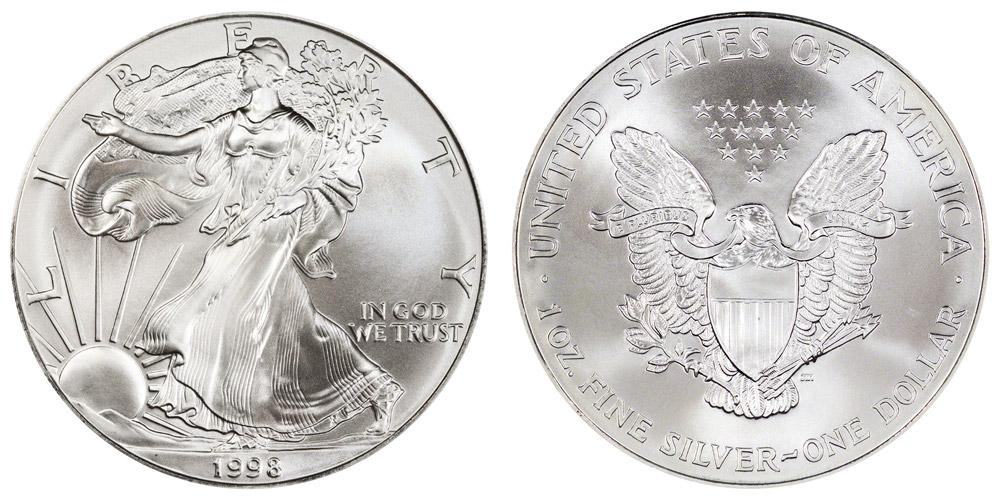 1998 P American Silver Eagle Bullion Coins One Troy Ounce