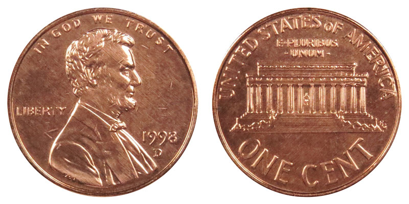 1998 D Lincoln Memorial Cent Copper Plated Zinc Penny