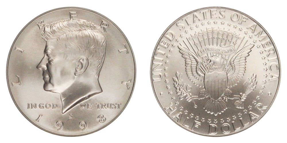 1998 S Kennedy Half Dollars Silver Frosted Matte Finish