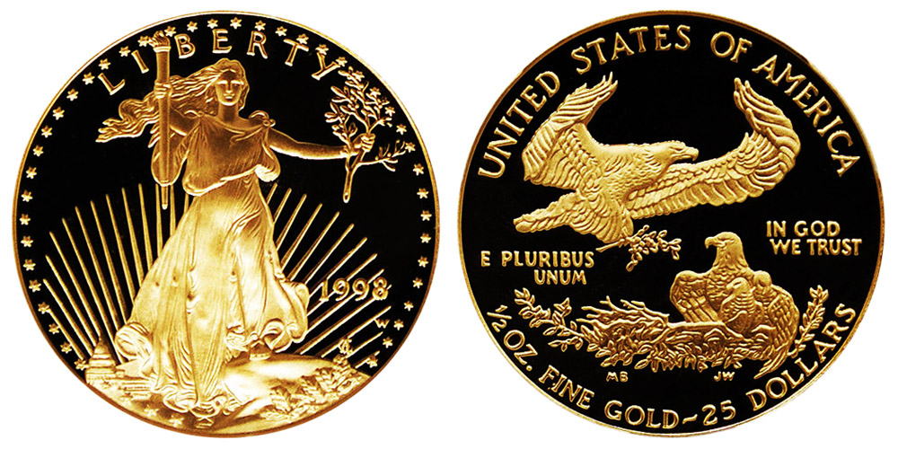1998 W American Gold Eagle Bullion Coin Proof 25 Half Ounce Gold Coin Value Prices Photos Amp Info