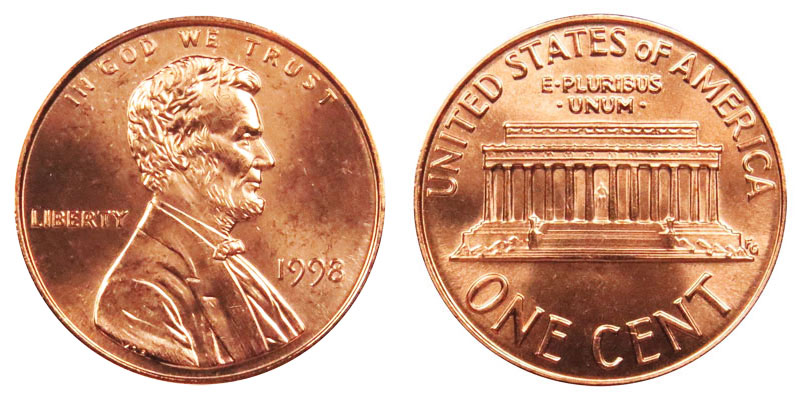 1998 lincoln memorial cent wide am copper plated zinc