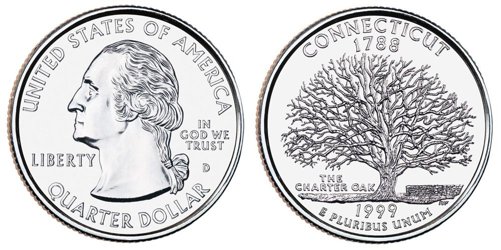 1999 D Connecticut State Quarter Coin Value Prices Photos Info