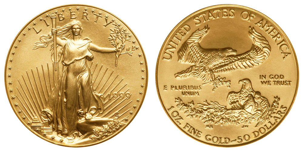 1999 American Gold Eagle Bullion Coin 50 One Ounce Gold