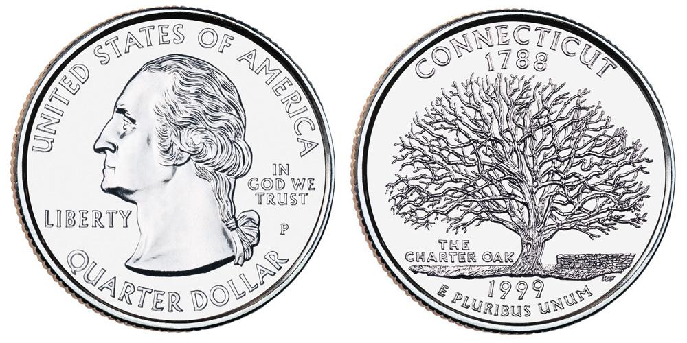 1999-D US Connecticut Statehood Quarter Uncirculated. CT