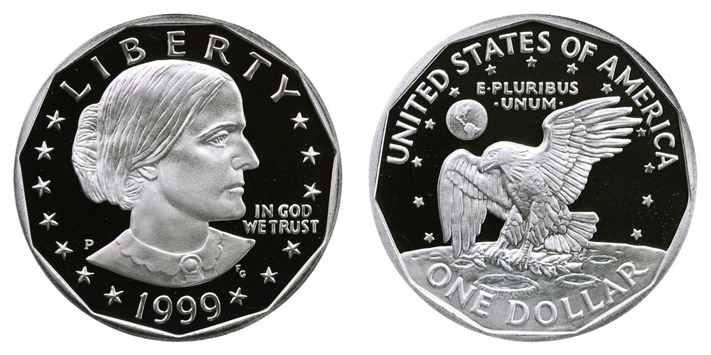 1999 P Susan B Anthony Dollar Proof Coin Value Prices Photos Info