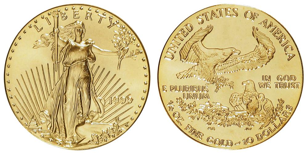 1999 American Gold Eagle Bullion Coin 10 Quarter Ounce Gold Coin Value Prices Photos Info