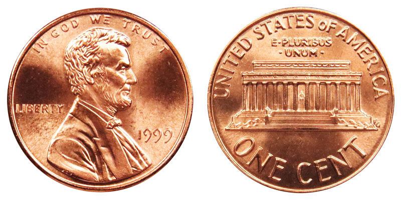 1999 Lincoln Memorial Penny Wide AM Coin Value Prices, Photos & Info