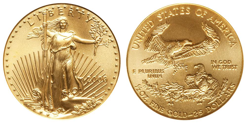 2000 P American Gold Eagle Bullion Coins 25 Half Ounce