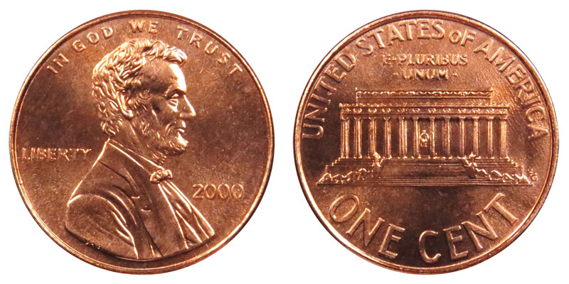 2000 P /& D Lincoln Memorial Cent **FREE SHIPPING** Penny Set 2 Coins
