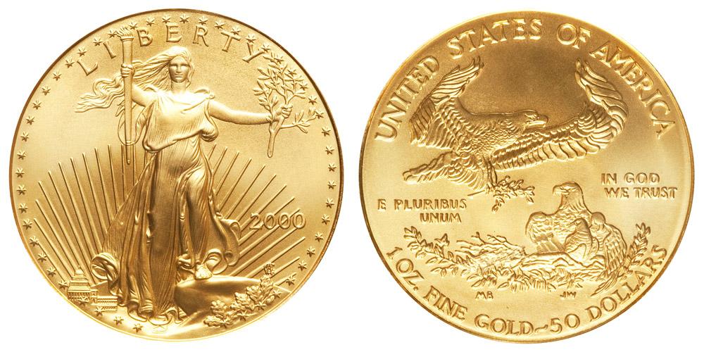 2000 P American Gold Eagle Bullion Coins 50 One Ounce