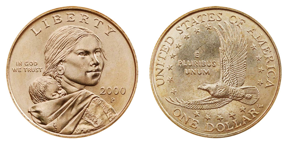Roll of 20 Sacagawea Native American $1 Dollar Coins in Tube 2000-D