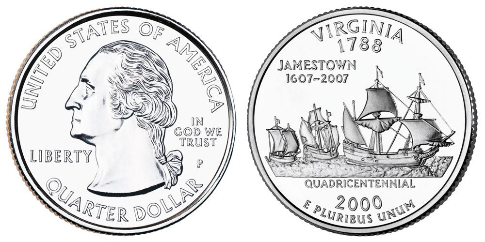 2000 P Virginia State Quarter Coin Value Prices, Photos & Info