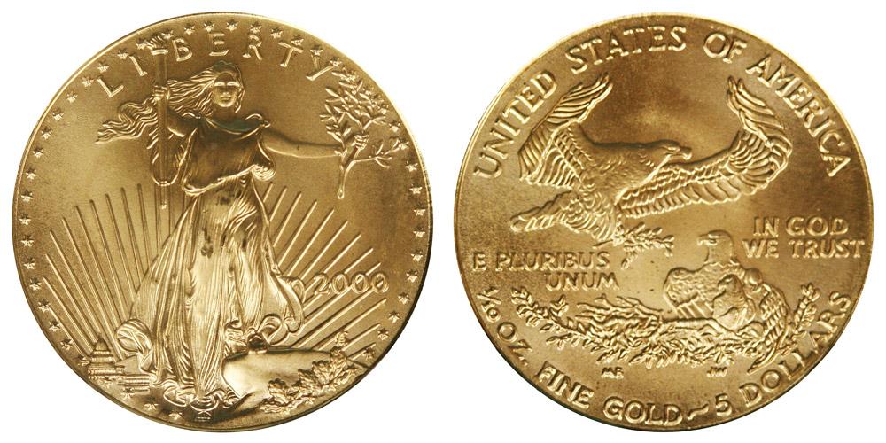 2000 P American Gold Eagle Bullion Coins 5 Tenth Ounce