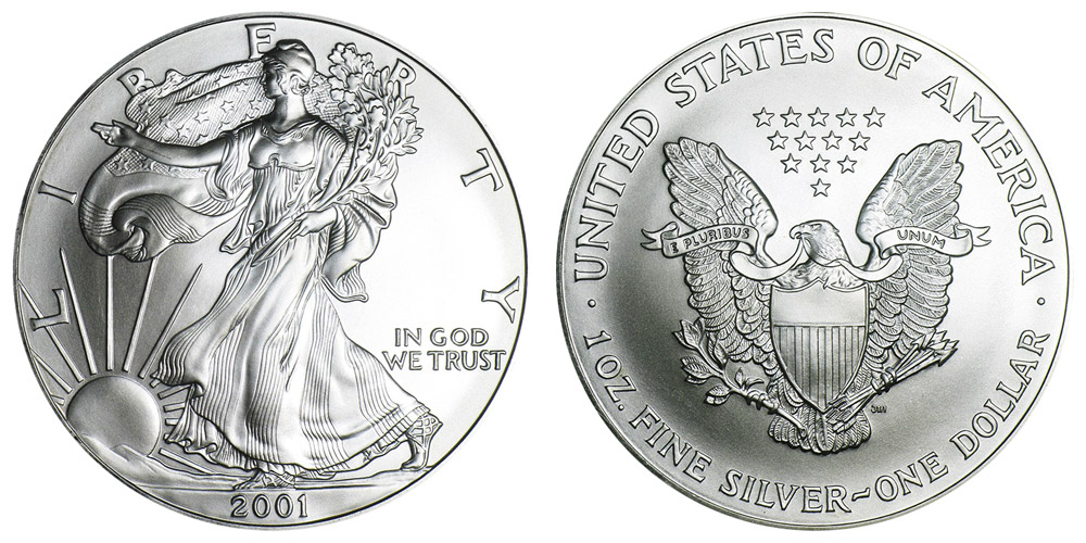 2001 W American Silver Eagle Bullion Coins Bullion No