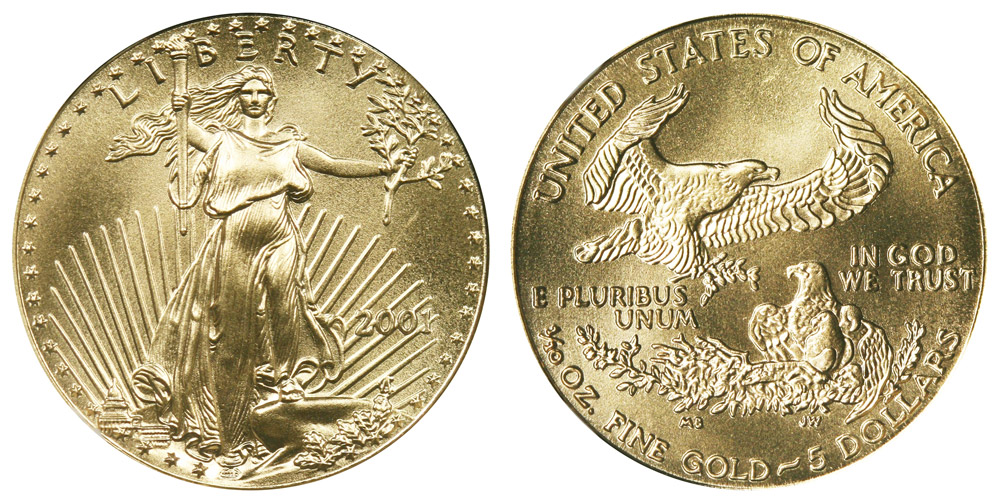 2001 American Gold Eagle Bullion Coin 5 Tenth Ounce Gold Coin Value Prices Photos Amp Info