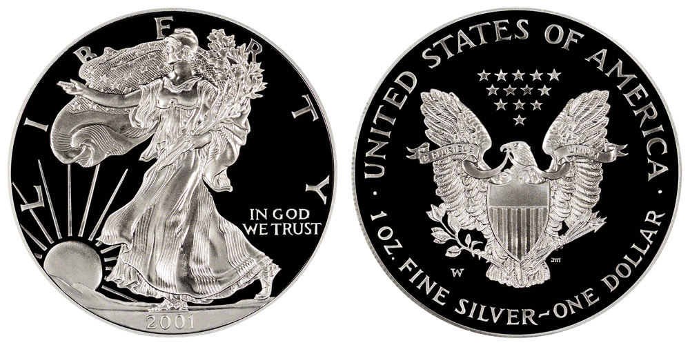 2001 W American Silver Eagle Bullion Coins Proof One Troy