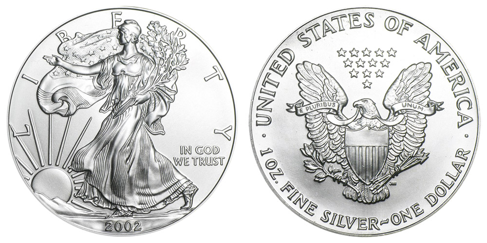 2002 W American Silver Eagle Bullion Coins Bullion No
