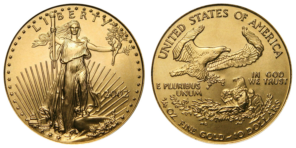 2002 P American Gold Eagle Bullion Coins 10 Quarter Ounce