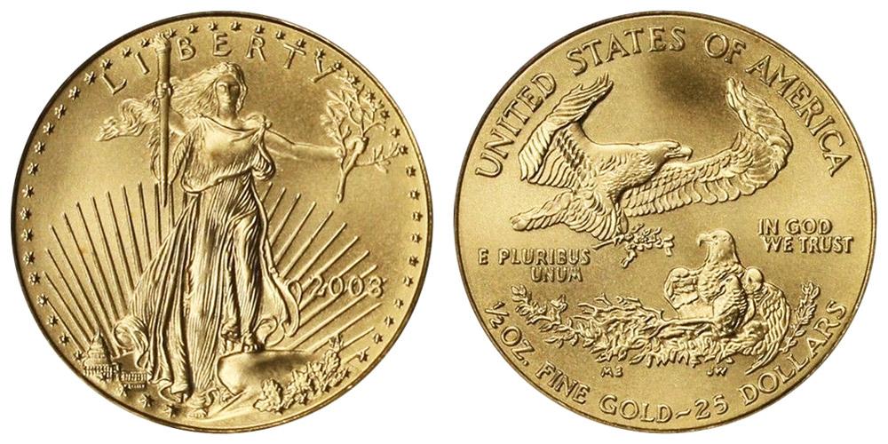 2003 P American Gold Eagle Bullion Coins 25 Half Ounce