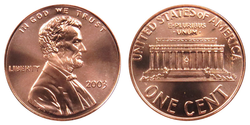 2003 Lincoln Memorial Cent Copper Plated Zinc Penny Value
