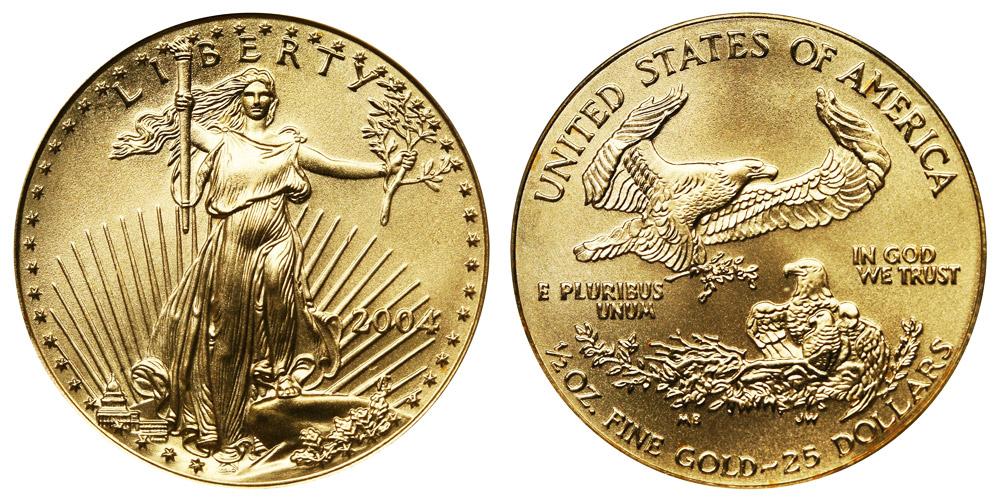 2004 P American Gold Eagle Bullion Coins 25 Half Ounce