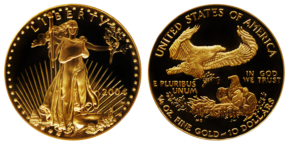 2004 W American Gold Eagle Bullion Coins Proof 10 Quarter
