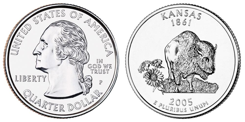 2005-P Kansas State Quarter BU Roll