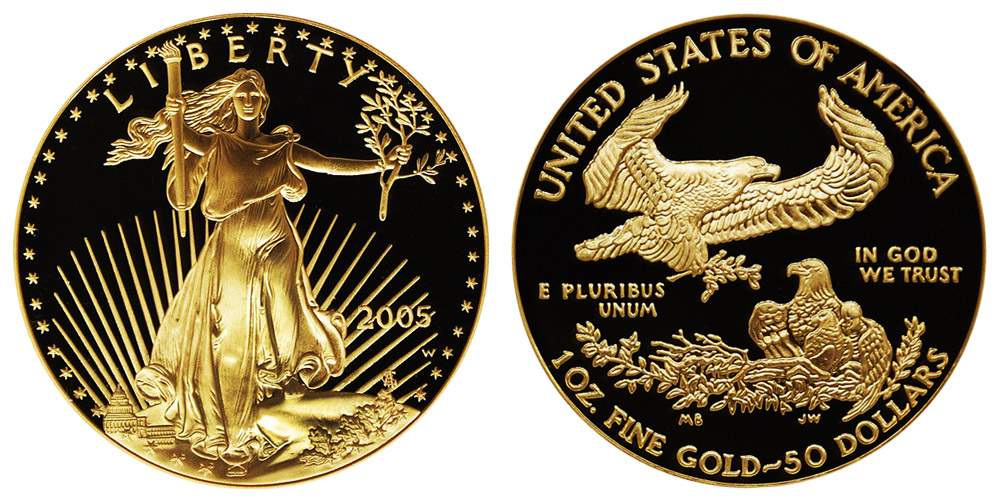 2005 W American Gold Eagle Bullion Coins Proof 50 One