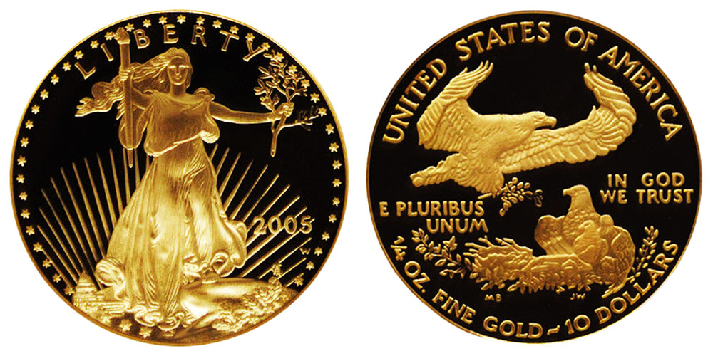 2005 W American Gold Eagle Bullion Coins Proof 10 Quarter