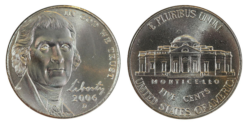 2006 P /& D UNCIRCULATED NICKEL SET IN MINT CELLO USA