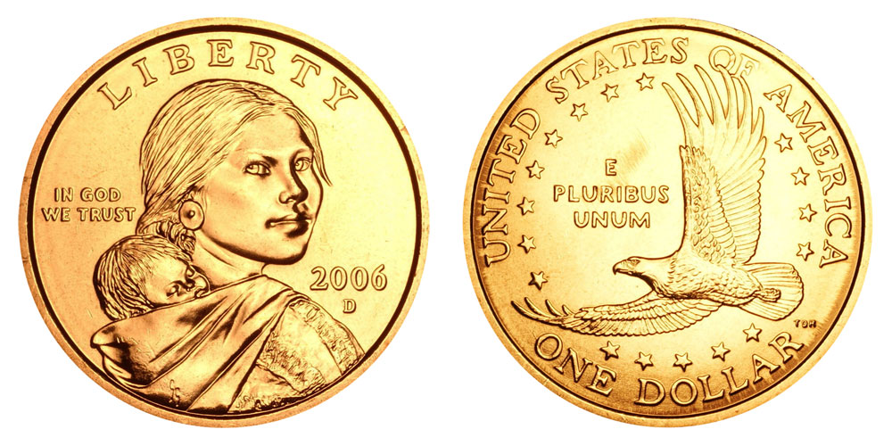 2005 P /& D $1 Sacagawea Native American Gold Dollar  2 Coin Set From Mint Rolls