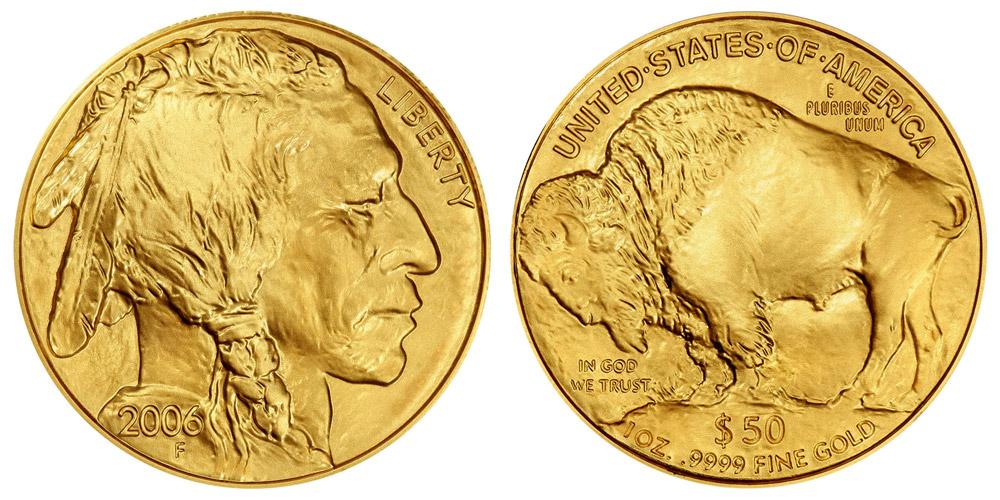 2006 W Gold American Buffalo Bullion Coin 50 One Ounce 24 Karat Gold Coin Value Prices Photos