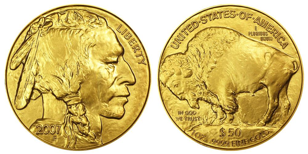 2007 W Gold American Buffalo Bullion Coin 50 One Ounce 24 Karat Gold Coin Value Prices Photos