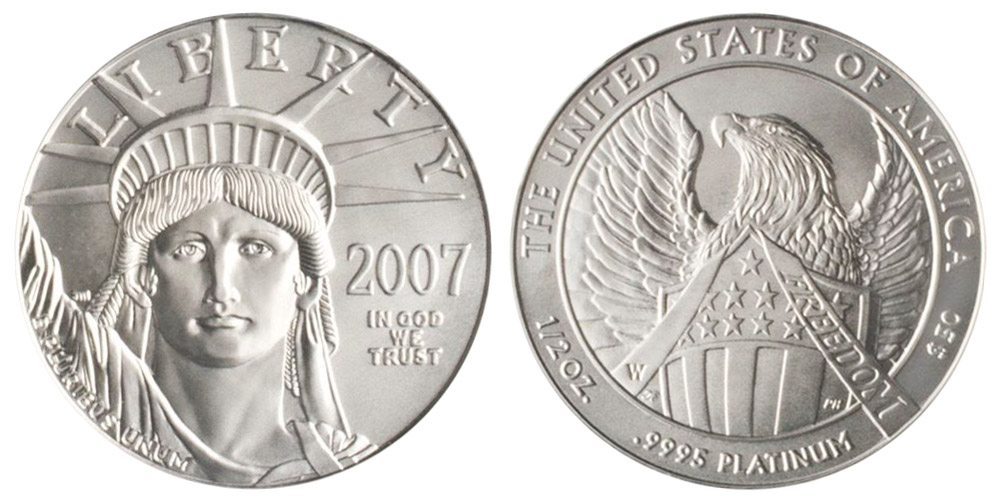 2007 W Burnished Uncirculated Half Ounce American Platinum Eagle