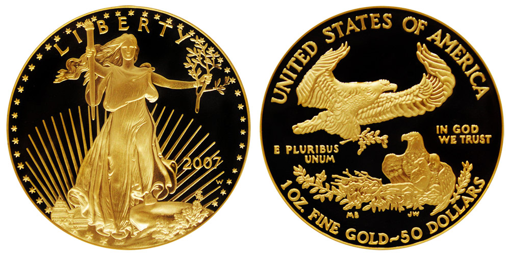 2007 W American Gold Eagle Bullion Coin Proof 50 One