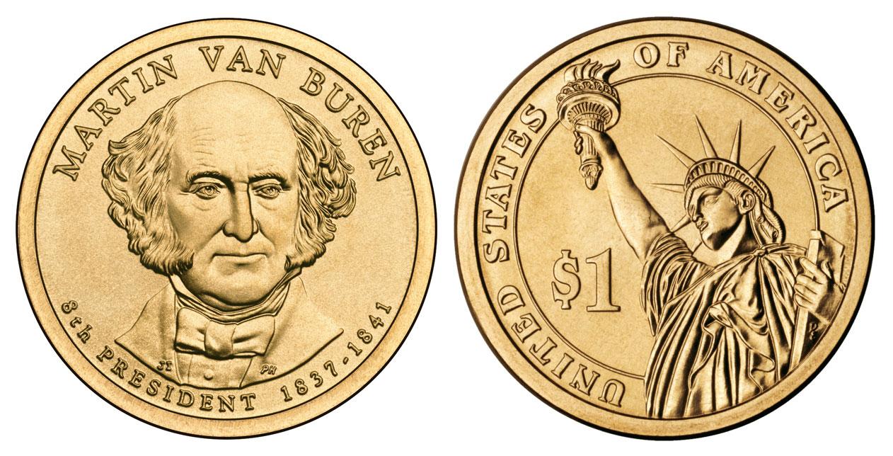 2008 p martin van buren presidential dollar coin