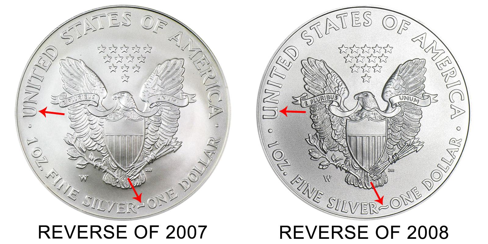 2008 W American Silver Eagle Bullion Coin Burnished