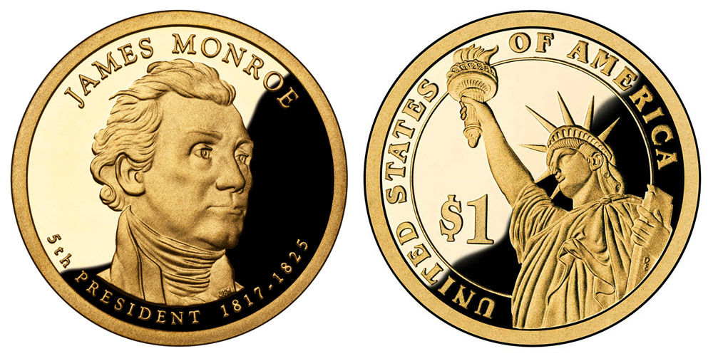 2008 S Presidential Dollars James Monroe Golden Dollar Value And Prices