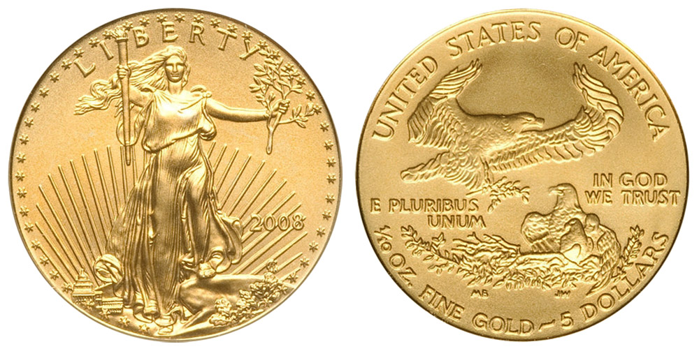 2008 P American Gold Eagle Bullion Coins 5 Tenth Ounce