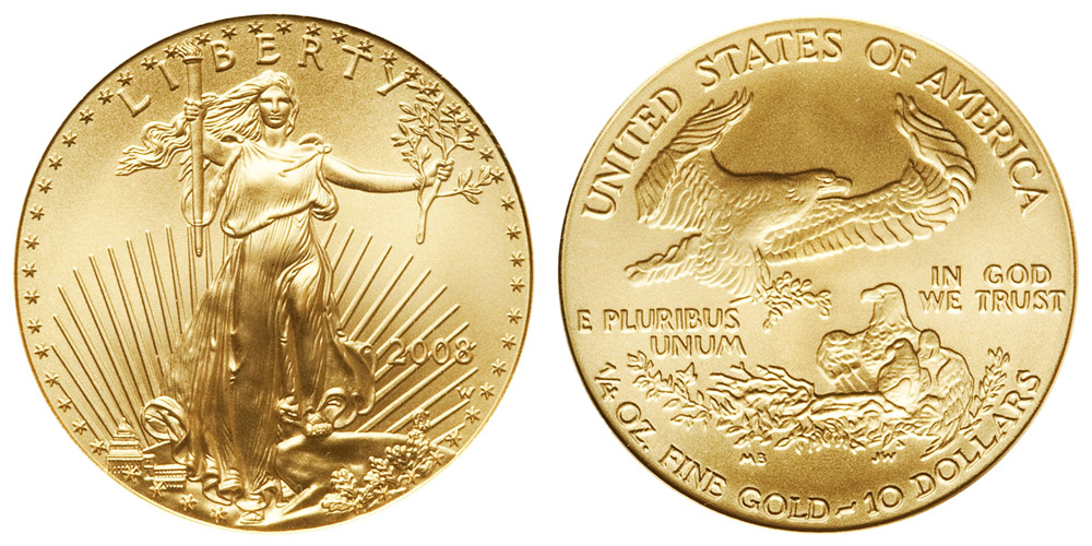 2008 W American Gold Eagle Bullion Coins Burnished 10