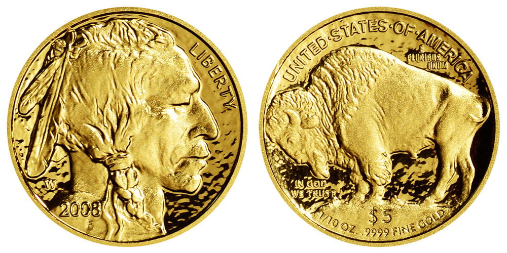 2008 W Gold American Buffalo Bullion Coin Deep Cameo Proof 5 Tenth Ounce 24 Karat Gold Coin