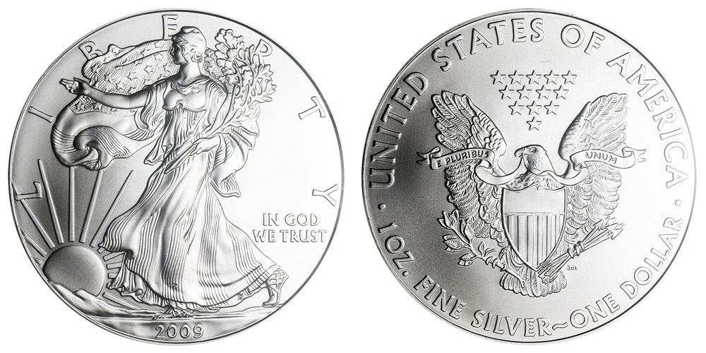 2009 W American Silver Eagle Bullion Coin Bullion No Mint