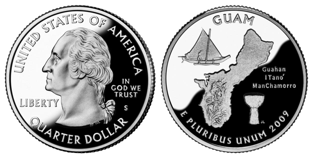 2009 S Clad Proof Guam Territory Quarter Choice Uncirculated US Mint