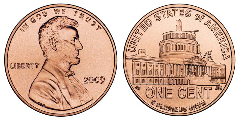 2009 Lincoln Memorial Penny Presidency - Satin Finish Coin