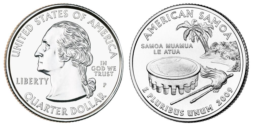2009 Philadelphia America Samoa US Territories Coin U.S Mint Coins Quarter