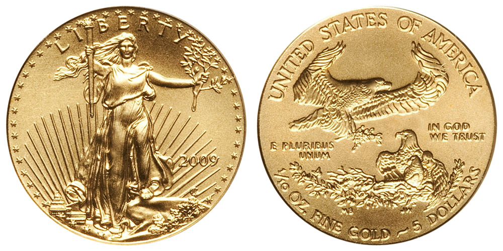 2009 P American Gold Eagle Bullion Coins 5 Tenth Ounce