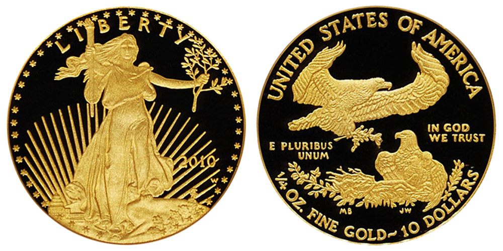 2010 W American Gold Eagle Bullion Coins Proof 10 Quarter